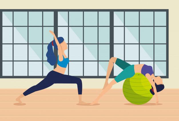 Chicas haciendo ejercicio en casa